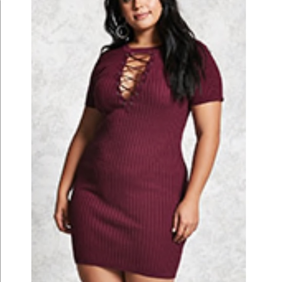 c0fce94349 Plus size knit sweater dress plum 3x Forever 21